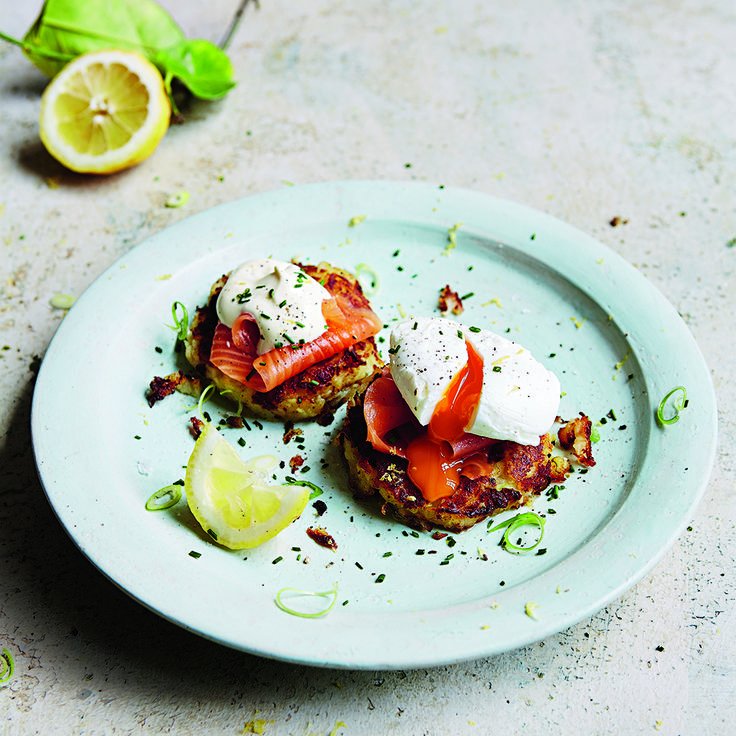 Learn how to make an extra-special breakfast with Jamie's Potato Cakes with Smoked Salmon, Soft-boiled Eggs & Sour Cream. #HappyMothersDay #MothersDay #JamieOliver #Potato #Salmon #SmokedSalmon