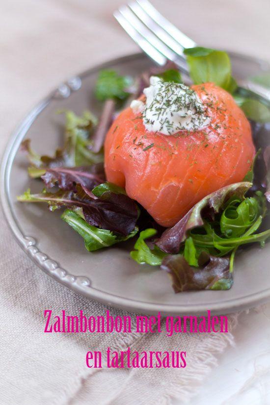 Zalmbonbon met garnalen en tartaarsaus recept