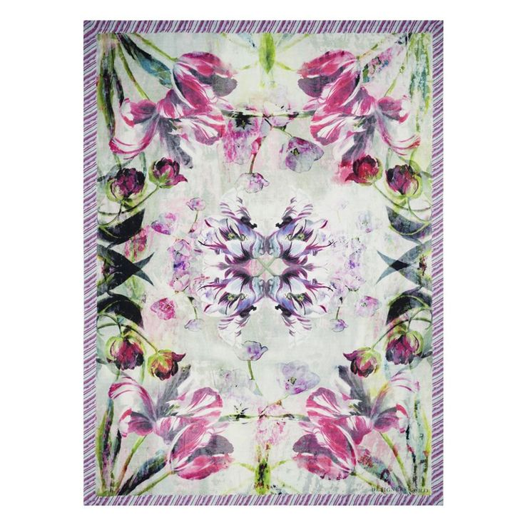 Tulipa+Stellata+Fuchsia+Pledd+130x180cm,+Designers+Guild