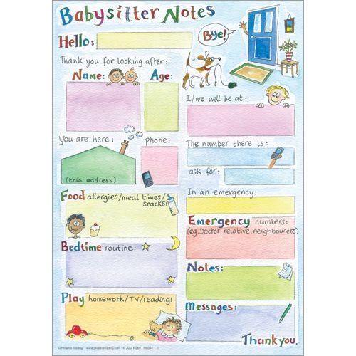 Leave notes for the babysitter on the fridge $12 - RBS44 Buy Online Now