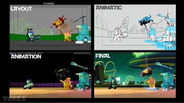 This is a comparative from animatic to final piece of one episode of Bugsted.