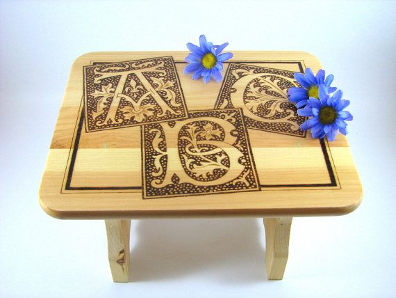 Wood Stool  Wood Pyrography  Decorative Stool by bkinspired, $45.00