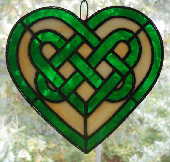 Stained Glass Celtic Knot Heart in Green - Handcrafted in the USA