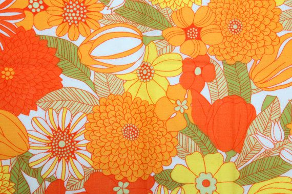 Vintage 70s yellow orange and green floral fabric... this reminds me fabric we had at our house as a kid.....