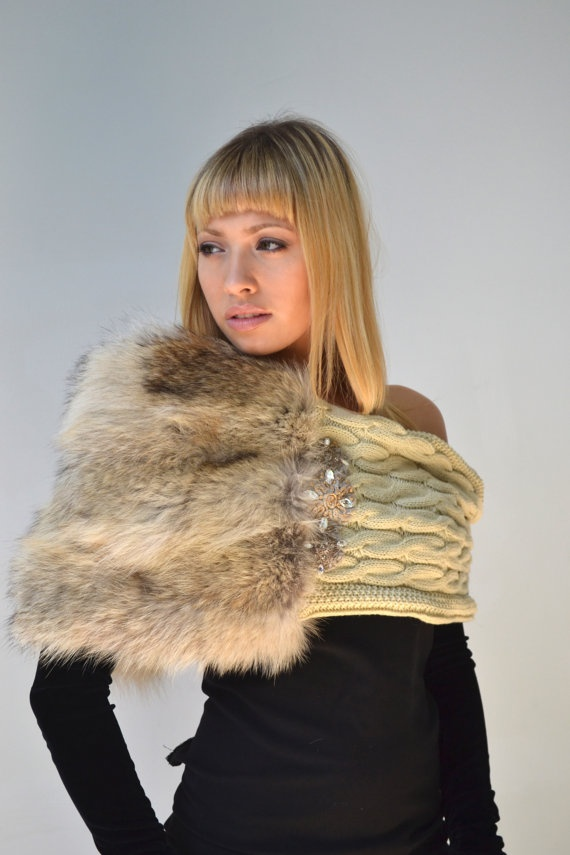 Taupe/beige infinity fur  cowl shrug/scarf by KaleidoscopicCouture, $175.00