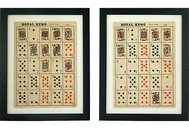 Vintage Royal Keno Cards mounted in new frames