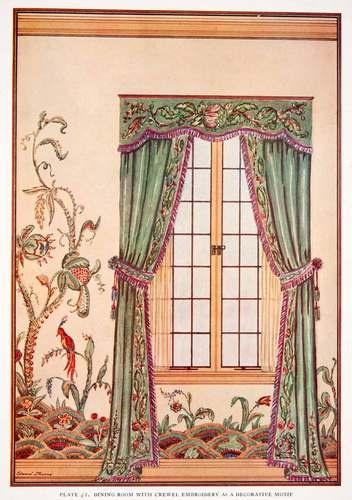 1929 Color Print Crewel Draft Embroidery Curtain Drapery Interior Edward Thorne