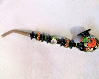 Smoking pipe wood  Long tobacco smoking pipe  Hand-painted