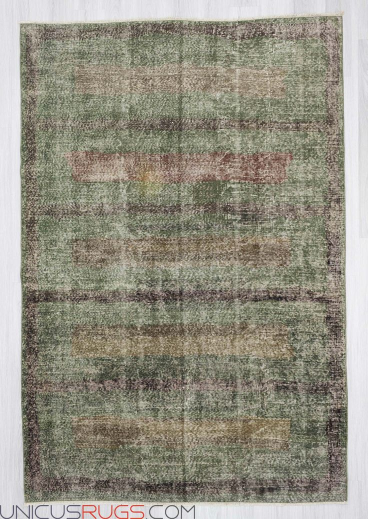 """Vintage hand-knotted decorative modern Turkish art deco rug from Isparta region of Turkey. In good condition. Approximately 50-60 years old. Wool on cotton. Width: 6' 5"""" - Length: 9' 7"""" Vintage Art Deco Rugs"""