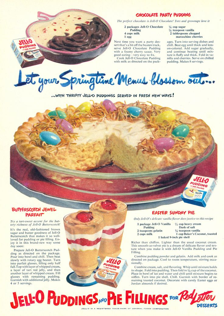 Easter Sunday Pie Jell-O pudding ad from Good Housekeeping, March 1951