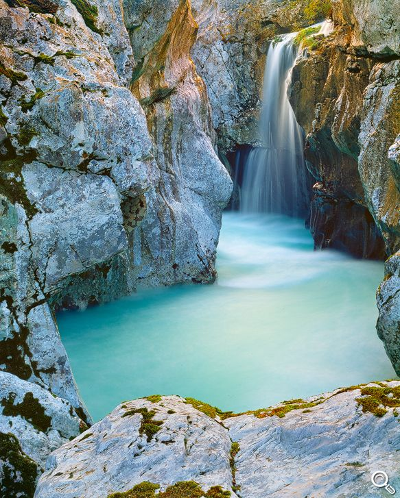 Soca waterfall in Triglav National Park, Slovenia …