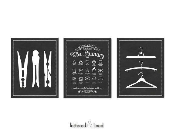 Laundry Symbols Hanger Clothespin  -  3 Print Set - Choose Background Color, Vintage, Chalkboard, Symbols, Guide, Room, Utility, Decor