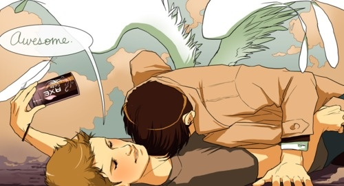 So Dean must have sprayed Axe on and Cas' head just magnitised to Dean's cheast? Sounds about right.