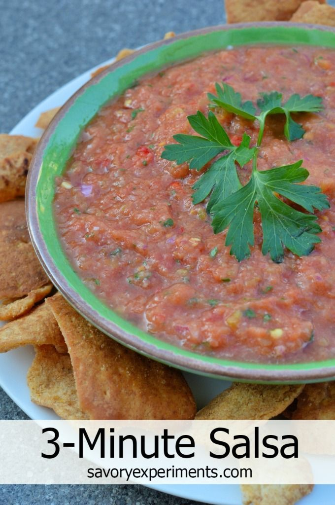 3-Minute Salsa- Fresh, quick, easy and much cheaper than buying jarred! #blendtec Savory Experiments