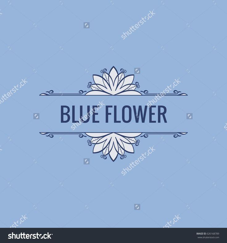 Calligraphic Luxury line logo. Flourishes blue frame. Royal vintage design. Beauty symbol decor for menu card, invitation label, Restaurant, Cafe, Hotel. Vector line illustration