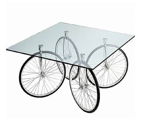 Unique Bicycle Wheel Square Glass Table Top