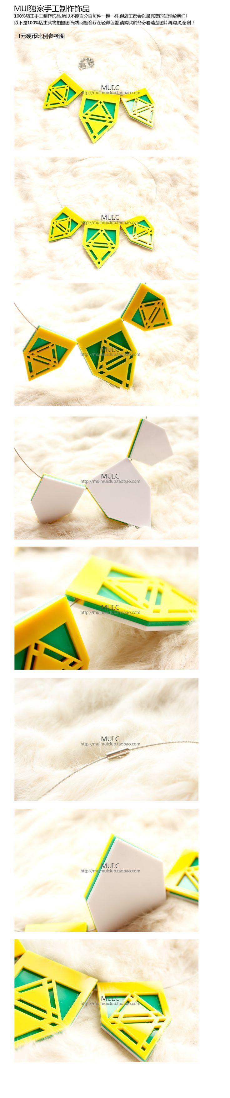 MUIMUI ● ● эксклюзивный дизайн баннер геометрия треугольник цветовой контраст трехмерных полых акрил ожерелье - Taobao
