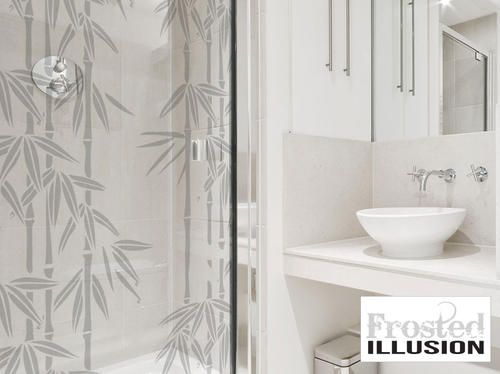 Frosted Illusion BAMBOO sandblasted glass effect Vinyl Sticker Decal for shower door, sliding doors