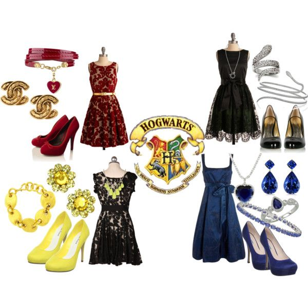 Gryffindor, Ravenclaw, Hufflepuff and Slytherin, created by potterholic on Polyvore