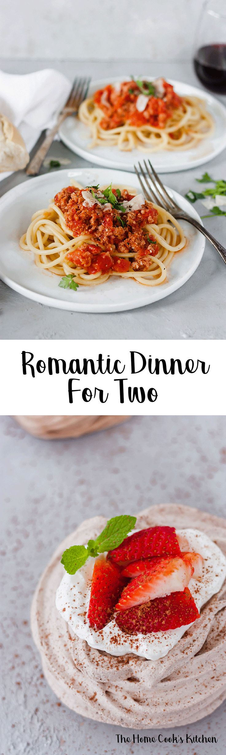 Whether it's a Valentine's Day celebration, or if you're looking to just spoil your S.O, this romantic dinner for two is for you! A beautiful bucatini all'Amatriciana and chocolate meringue nests it's all you need for a great celebration! These two recipes are easy to make and will definitely show your SO or bestie that you love and appreciate them! #romanticdinner #dinnerfortwo #dinnerfortwoathome