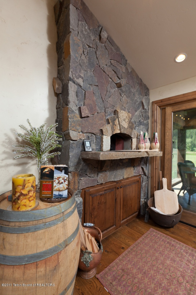 stone pizza oven in the kitchen. Perk