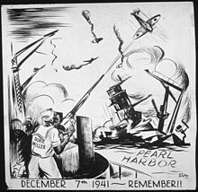 Illustration of Miller defending the fleet at Pearl Harbor (Charles Alston, Office of War Information and Public Relations)