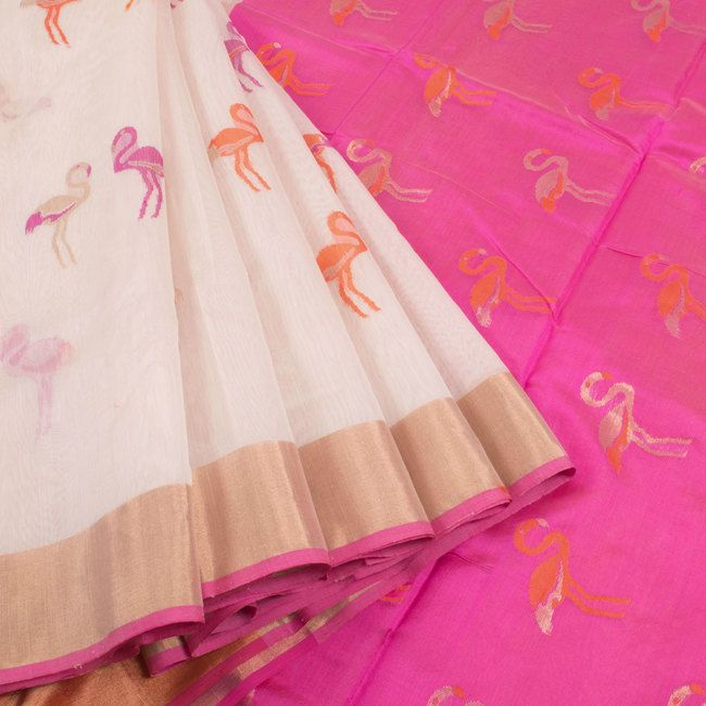 Marm White Handwoven Chanderi Silk Cotton Saree With Ganga Jamuna Border & Crane Motifs 10007932 - profile - AVISHYA.COM