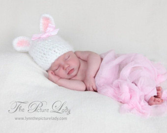 Baby Easter Hat, Newborn Bunny Hat with Bow, Baby Girl Bunny Hat, Baby Crochet Hat PHOTO PROP