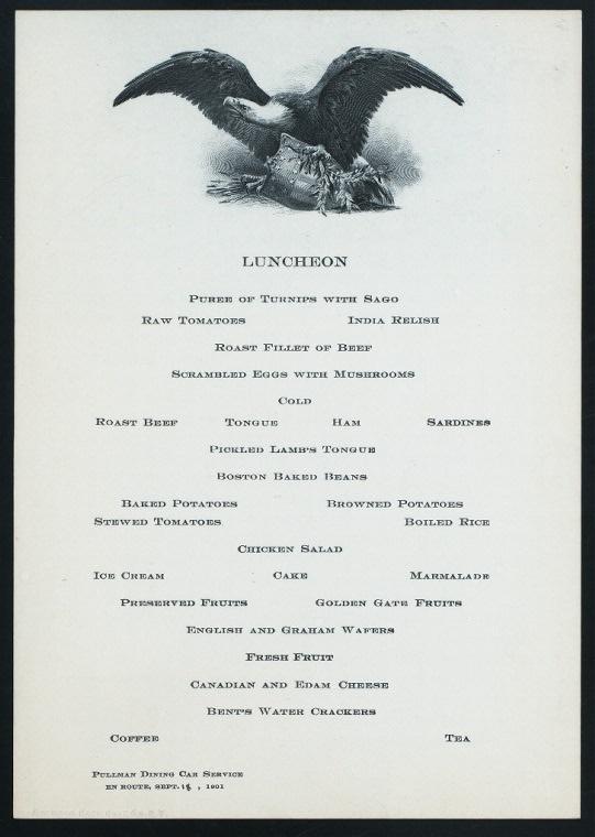 Train car dinner menu