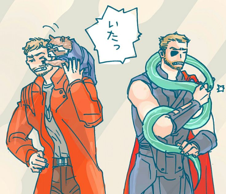 Star Lord & Rockeet Raccon || Thor & snake Loki || Thor: Ragnarok || Guardians of the galaxy || Cr: プー :