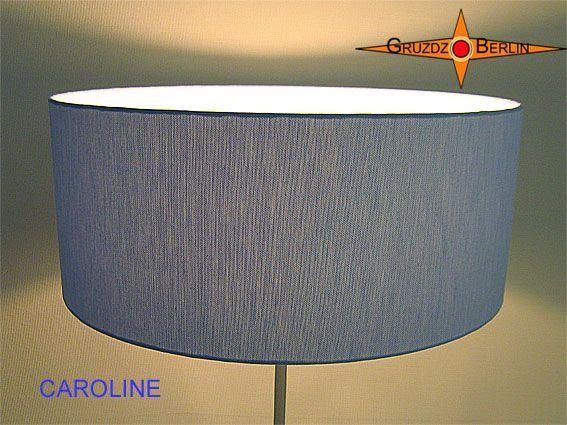Stehleuchte CAROLINE h 155 cm Stehlampe Leinen Blau. Hier mit Beleuchtung.