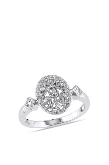 Sterling silver diamond accented filigree ring