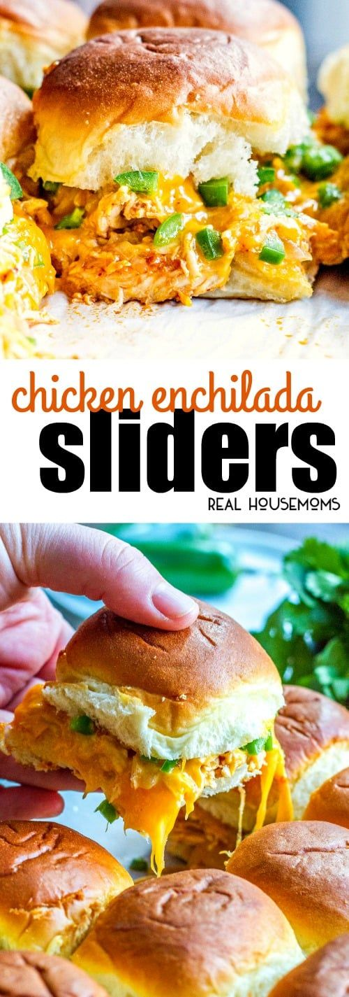 These easy Chicken Enchilada Sliders make a great game day appetizer for feeding a crowd! Loaded with Mexican food flavors, they're sure the be a hit! via @realhousemoms