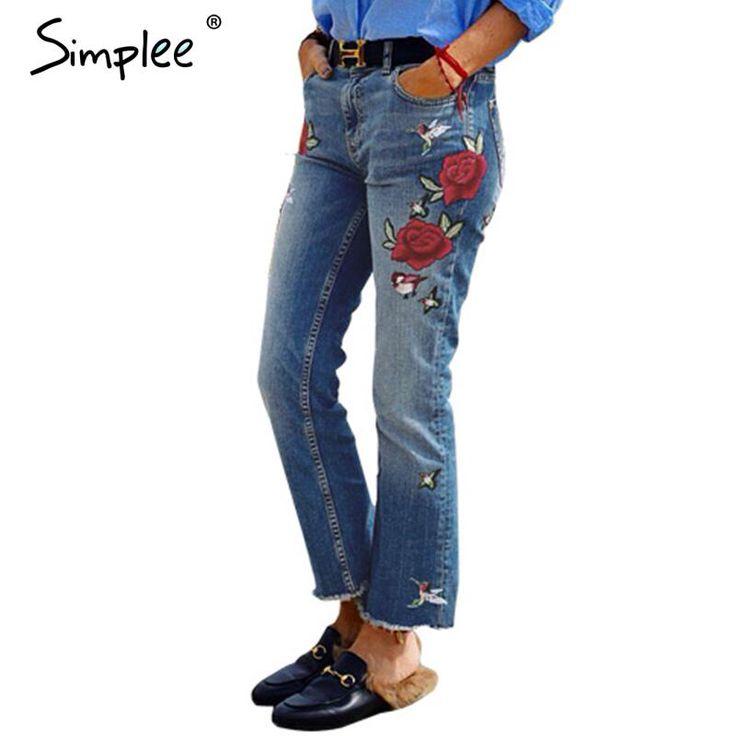 Simplee vintage borduurwerk jeans vrouwelijke 2016 herfst winter kwastje fringe flare casual broek capri zakken jeans vrouwen bodem