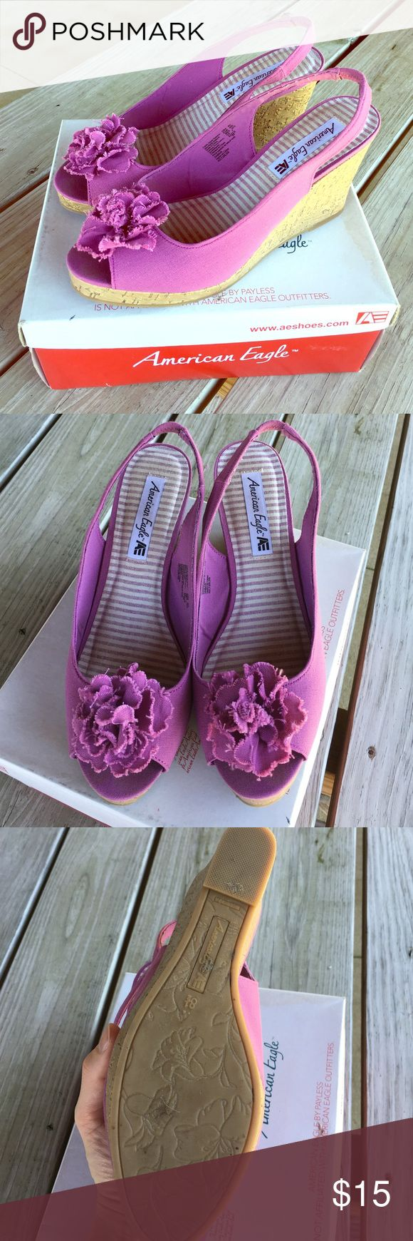 American eagle summer wedges. (Purple) Only worn once. Purple American eagle wedges. Shoes Wedges