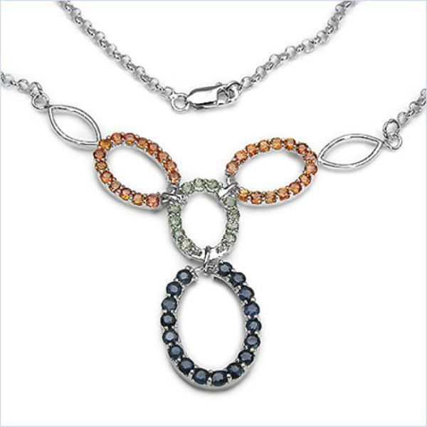 Exclusives 4,44 Carat orange, grün, blaues Saphir Collier,Kette 925 Silber