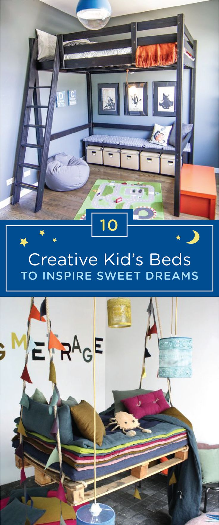Your child will have nothing but sweet dreams thanks to this collection of creative kids' beds. Explore options like a modern loft bed or a whimsical DIY hanging pallet bed. If your child frequently experiences nighttime wetness, a new bed might help him get excited for bedtime again. You can also have your child wear GoodNites Bedtime Pants before going to sleep at night to keep him and his bed protected against any nighttime accidents.