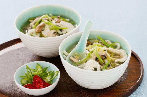 鶏肉とマッシュルームのうどん Chicken & Mushroom Udon