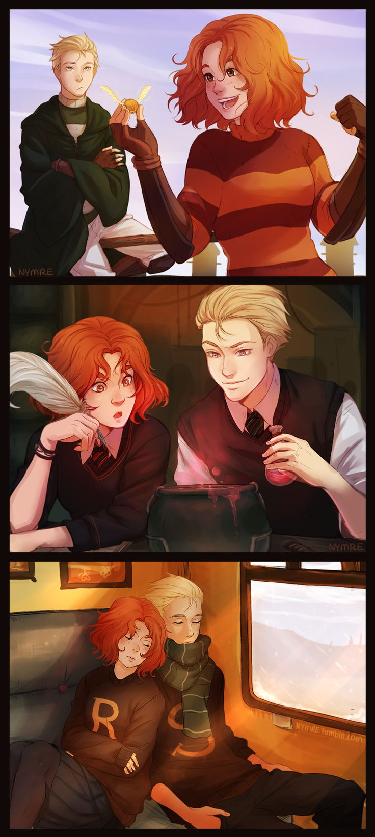 Scorose by nymre on DeviantArt---ok, so I know this is supposed to be Scorpius and Rose, but I ship Draco and Ginny so hard that my mind can only see it as them.