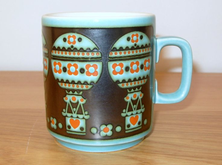 VINTAGE RETRO JOHN CLAPPISON HORNSEA RARE TURQUOISE HOT AIR BALLOON MUG in Pottery, Porcelain & Glass, Pottery, Hornsea | eBay