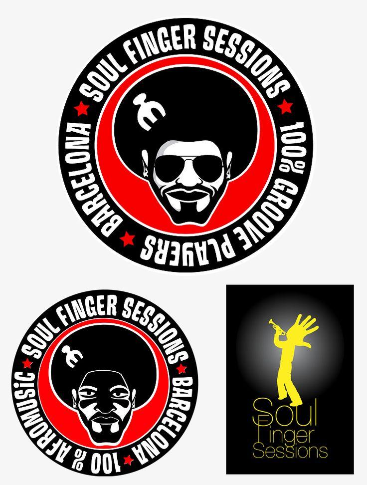 Logotipos para la promotora de eventos musicales barcelonesa Soul Finger Sessions.
