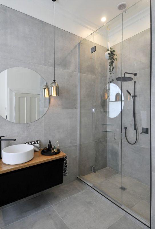 Bathroom lighting and stone.