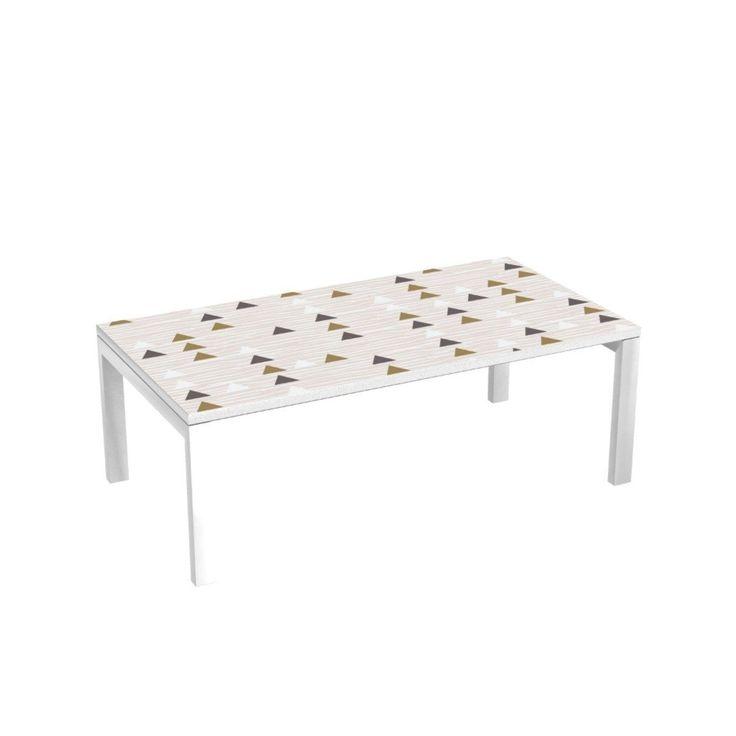 Table Basse Pieds Métalliques 114×60 Cm – Inspiration Ethnique – Taille : Taille Unique