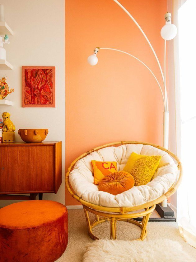Spacious Enough For A Nap But Compact Enough To Fit In The Corner Of Any Room The Papasan H Paint Colors For Living Room Living Room Paint Peach Living Rooms #orange #color #living #room