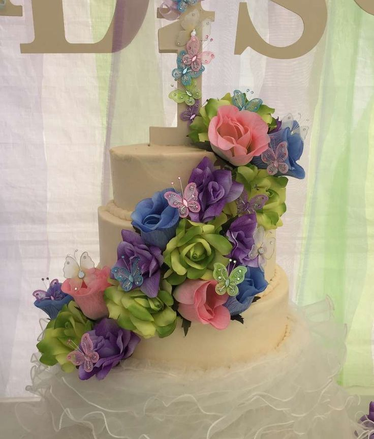 Amazing cake at a butterfly birthday party! See more party planning ideas at CatchMyParty.com!