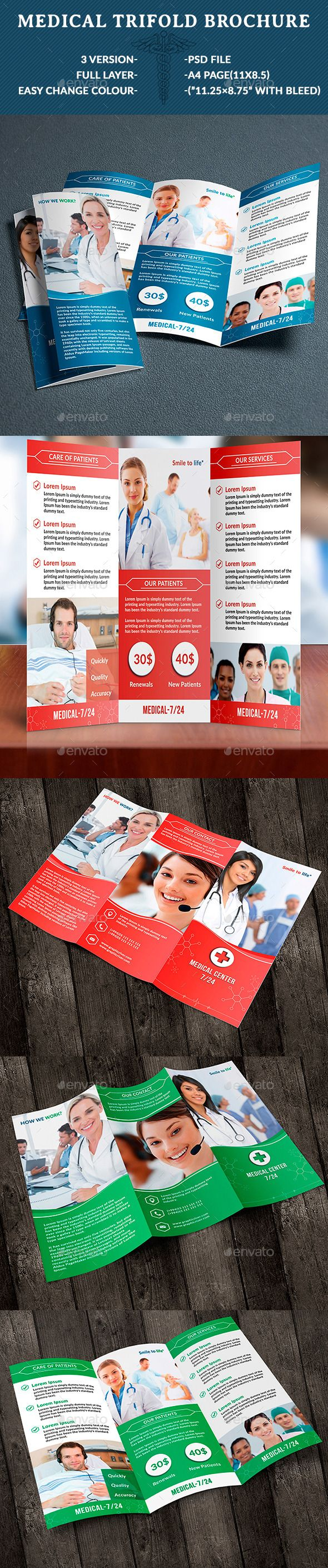 Medical Trifold Brochure  Advertising Brochure Template