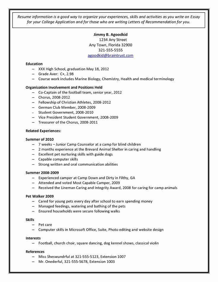 College Application Sample Beautiful College Admission Resume Template In 2021 College Application College Resume Template College Resume