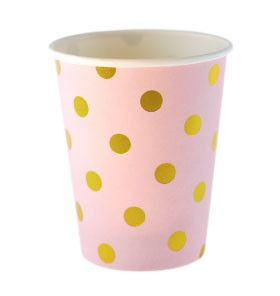 Pink with Gold Foil Polkadot Cups