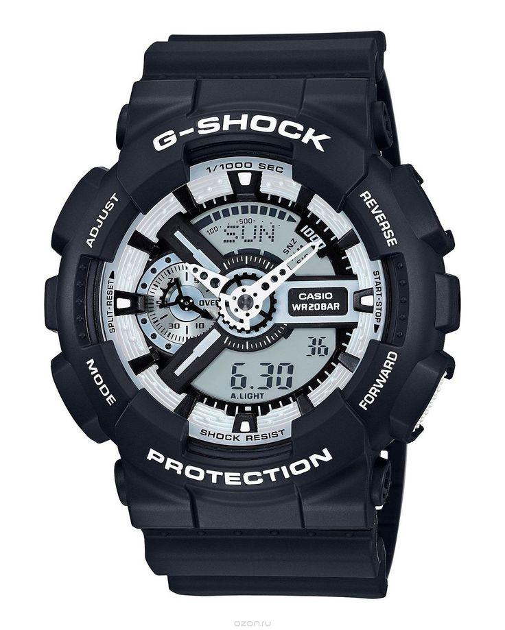 Часы наручные мужские Casio G-Shock, цвет: черный, белый. GA-110BW-1A