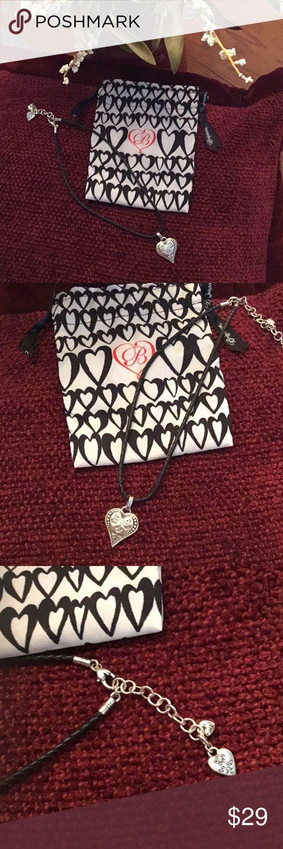 💕Brighton Classic Heart Pendant w/Leather Cord Beautiful Brighton Heart Pendant on Black Leather Cord Necklace. NWT  Comes with Brighton Gift Bag 😘 Brighton Jewelry Necklaces